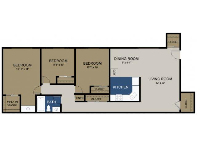 3 BEDROOM WASH/DRYER
